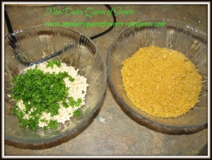 Mock Parm, Mozarella Shreds (chop in blender until in small pieces) and parsley