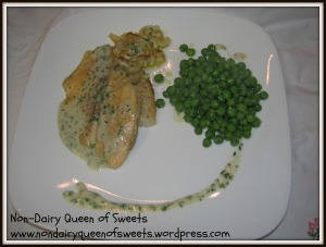 Finished fish with creamy peas