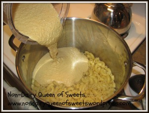Pour Cashew Cream mixture over pasta & mix well.