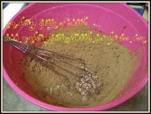 Add extracts and cocoa powder to creamed sugar;