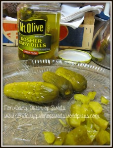 Chop four baby dill pickles (or sweet if that is your preference)