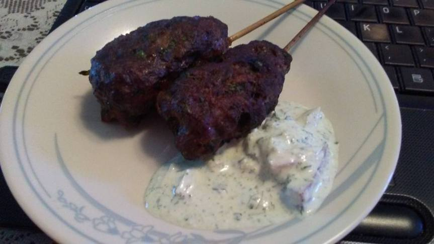Moroccan Kefta with Creamy Herbed Sauce